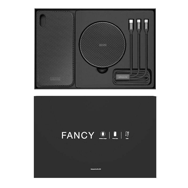 Sans fil Chargeur Set Pour iPhone Xs max Nillkin Fantaisie Cadeau Set Case Câble Chargeur 3 dans 1 Verre de Couverture Arrière cas Pour iPhone XsMax