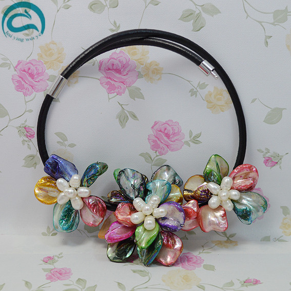 Handmade Shell Flower Leather Jewellery,Perfect Women Gift Multicolor Real Freshwater Pearl Sea Shell Flower Leather NecklaceHandmade Shell Flower Leather Jewellery,Perfect Women Gift Multicolor Real Freshwater Pearl Sea Shell Flower Leather Necklace