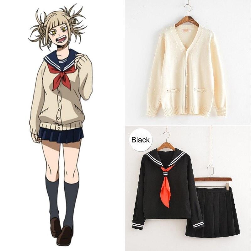 Cosplay traje meu herói academia anime cosplay boku nenhum herói academia himiko toga jk uniforme mulher marinheiro ternos com suéteres