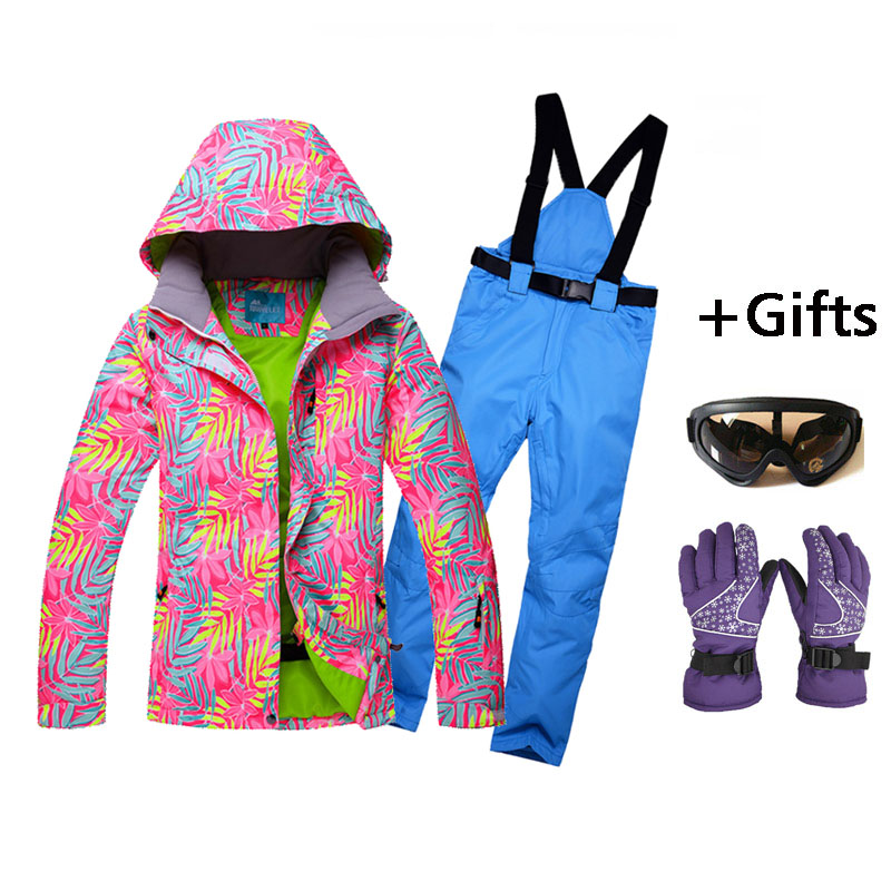 2017 new Women wear-resisting Skiing Jackets And Pants Snowboard sets Thick Warm Waterproof Windproof Winter female Ski suit top quality womens skiing suit sets windproof waterproof thermal snowboard jackets and pants girl winter cotton snow dress