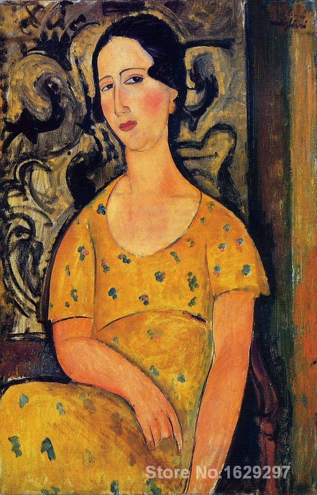 Young Woman in a Yellow Dress (aka Madame Modot) by Amedeo Modigliani paintings For sale Home Decor Hand painted High qualityYoung Woman in a Yellow Dress (aka Madame Modot) by Amedeo Modigliani paintings For sale Home Decor Hand painted High quality