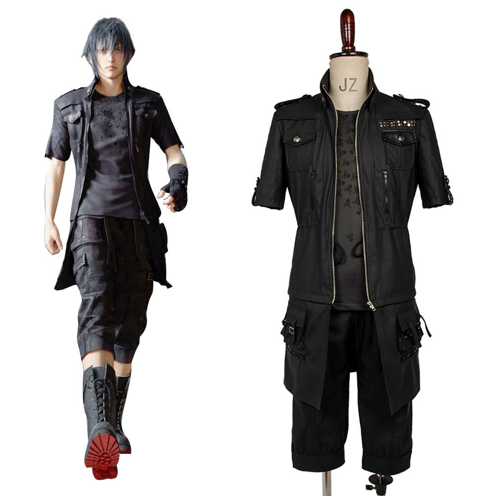 Final Fantasy XV Noctis Lucis Caelum Cosplay Costume Outfit Original Cosplay Costume Coat Gloves Pants T-shirt Halloween Party