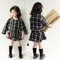 Trendy Fashion British Style Princess Plaid Pattern Two Piece Women's Clothing Letter print baby girls Winter Dress 2018 New