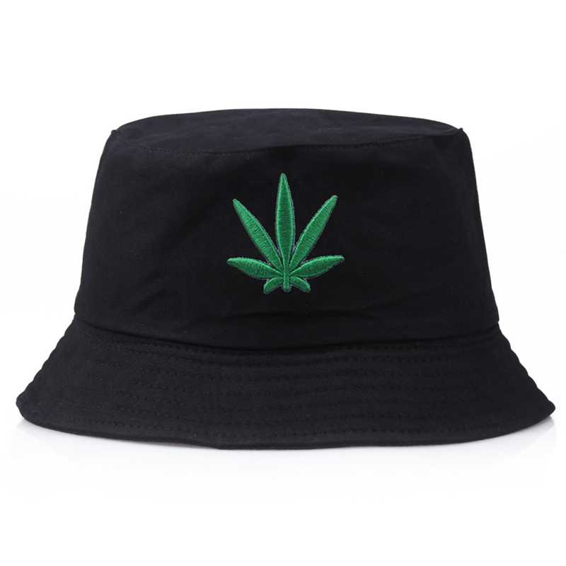 Men Women Maple Leaf Bucket Hat Hip Hop Fisherman Panama Hats Embroidery Cotton Outdoor Summer Casual Swag Bucket Cap