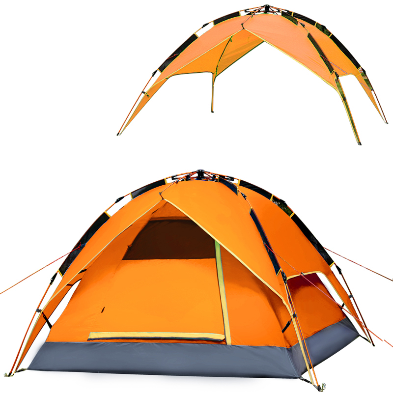 Automatic quick opening Outdoor camping tents 3-4 person Waterproof Double Layer hiking tent Strong aluminum alloy poles high quality outdoor 2 person camping tent double layer aluminum rod ultralight tent with snow skirt oneroad windsnow 2 plus