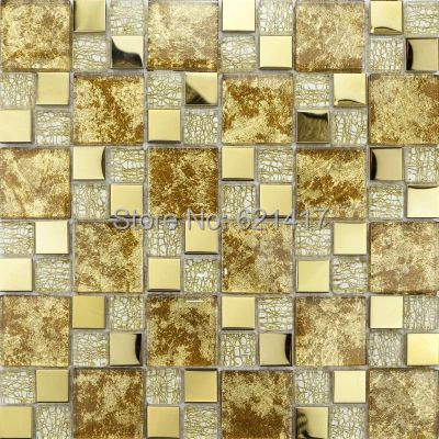 yellow gold simple European style crystal glass metal mosaic tiles for bathroom home improvement kitchen backsplash