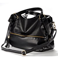 10 Pcs Of Large Shoulder Handbag Fringed Shoulder Strap Imitation Varnished Leather Zipper Black