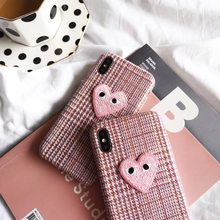 Japan CDG Play Comme des Garcons Hard PU fabric embroidery phone case for iphone 6 6s 7 8 plus x xs max xr pink love heart Cover(China)