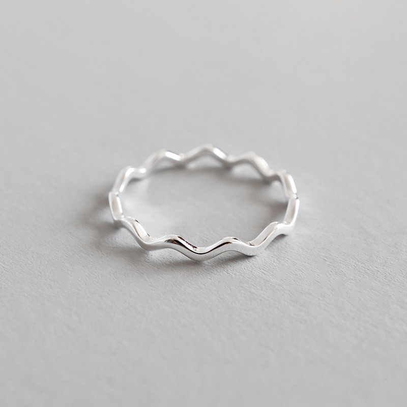 Real 925 sterling silver rings for women aneis feminino, Simple thin line curve wave smooth ring bague femme argent 925 jewelry simple 925 sterling silver round rainbow natural moonstone rings for women girls wedding engagement jewelry finger bague aneis