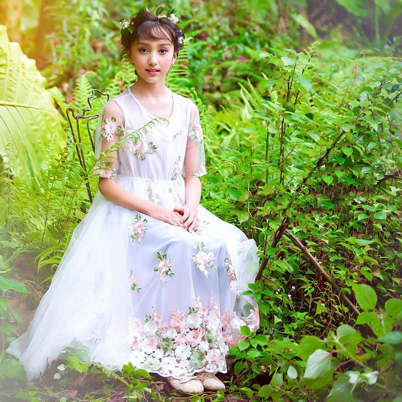 2018 soirée fête d'anniversaire robe complète pour bébé filles élégant délicat fleur vêtements pour Age56789 10 11 12 13 14 ans