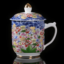 Jingdezhen Enamel Blue And White Ceramic Silver Cup Pure Silver Health Cup Office Tea Cup Large Capacity Water Cup With Lid portable ceramic thermos cup blue and white porcelain business office gift tea cup water cup