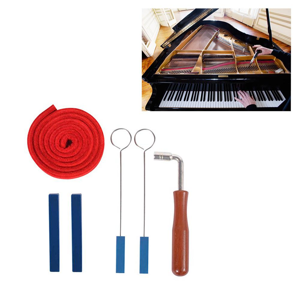 6Pcs/set Piano Tuning Tools Kits Piano Wrench Professional L-shape Square Tuner Spanner Musical Instruments Accessories