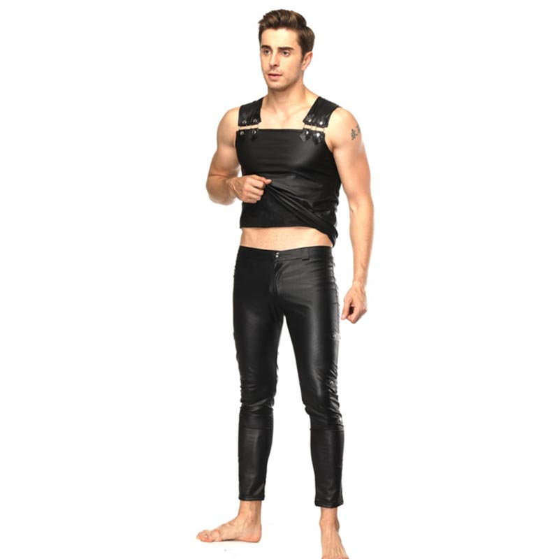 Sexy Men Skinny Faux PU Leather Pants Black Trousers Nightclub Stage Performance Singers Dancer Panty girdle Leather Pants