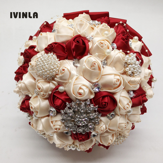 Hot Ing Red Cream Wedding Bridal Bouquet Bouquets With Diamond Rhinestone Crystal For