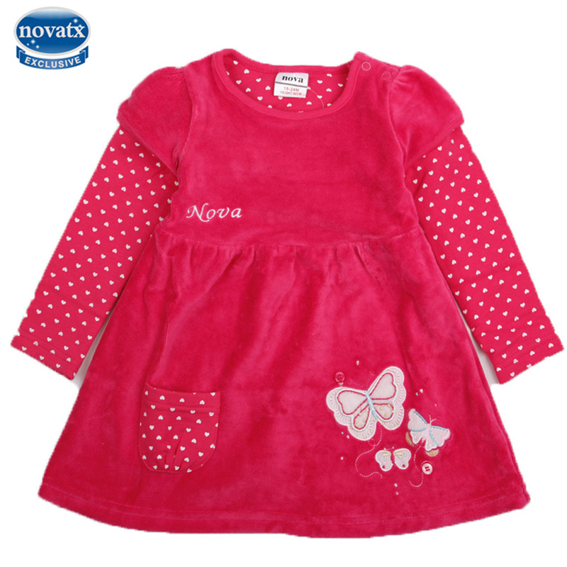 novatx H2005 retail fuchsia baby girl clothes long sleeves children kids girl for beautiful party dress free shipping casual