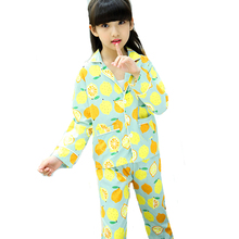 Girls Pajama Sets for Kids Long Sleeve Fruit Sleepwear Autumn Children Cotton Clothes Sets for Girls Pajama Suits 6 8 9 12 Years