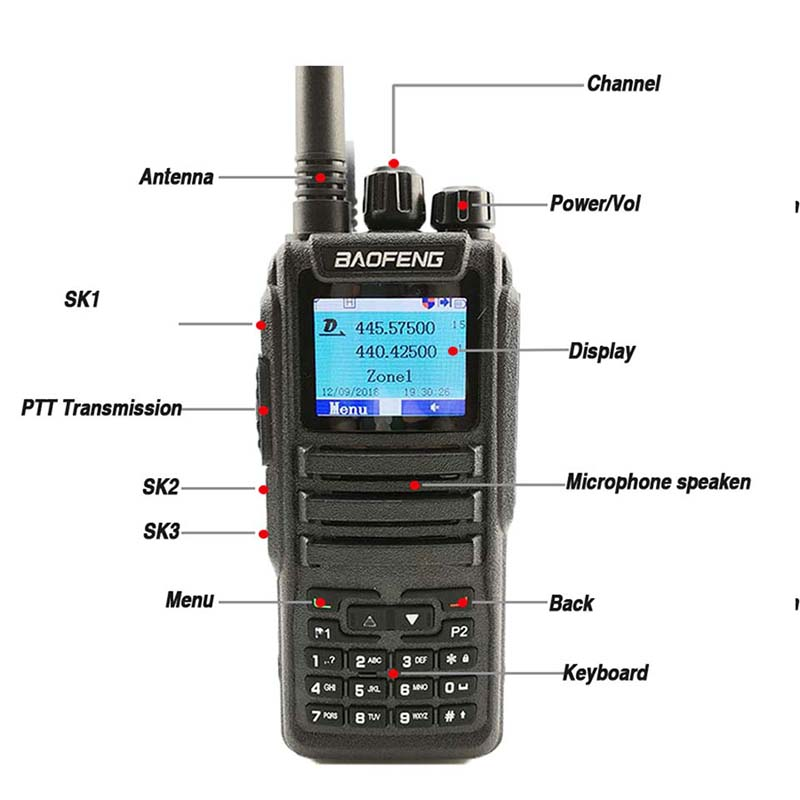 Image 2 - Baofeng DM 1701 Digital Analog Walkie Talkie Dual Band Dual Time Slot DMR Radio Station Two Way Radio Amateurs Transceiver 10 KM-in Walkie Talkie from Cellphones & Telecommunications