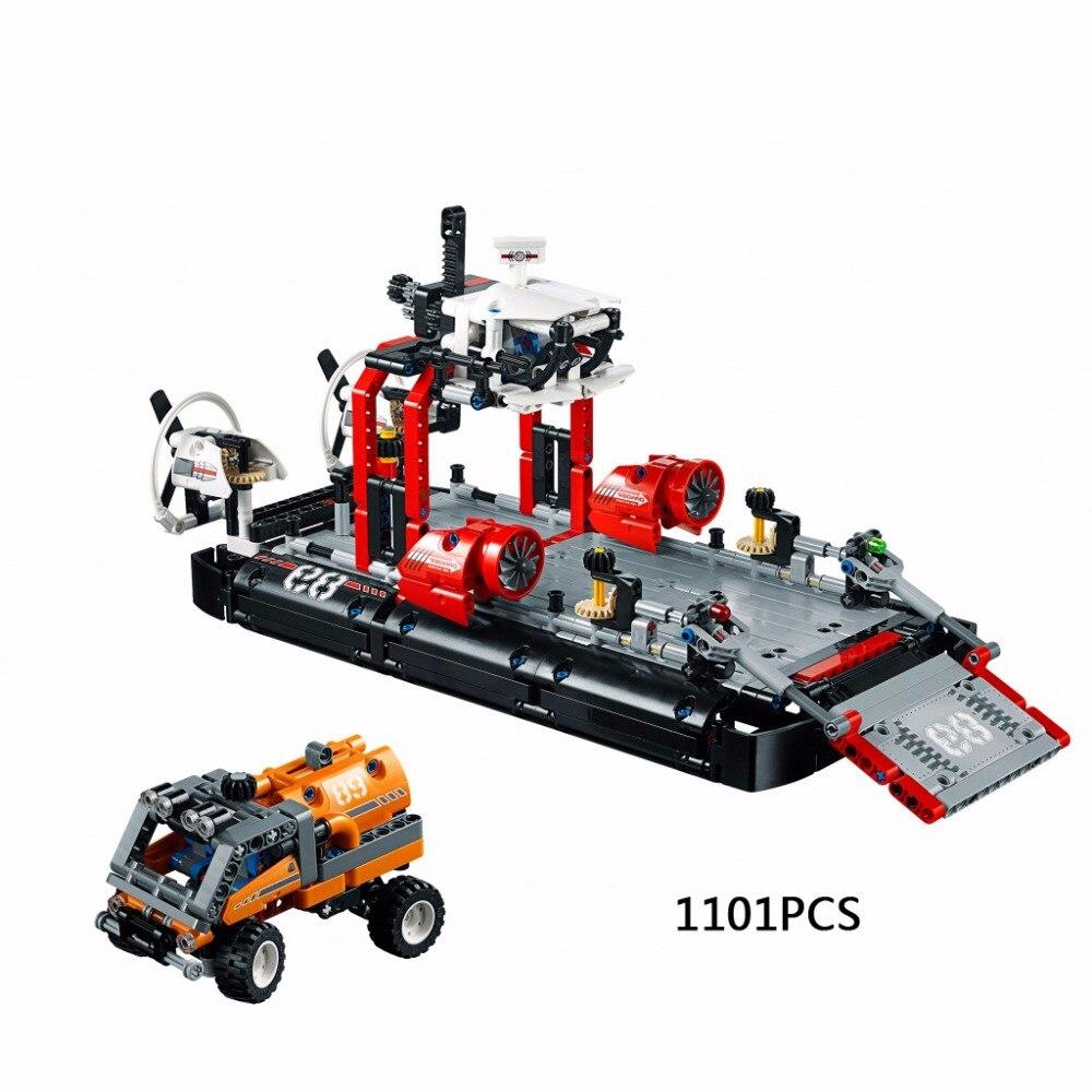купить Hot technican technics Hovercraft 2in1 building block speed boat model Fuel tank car bricks 42076 educational toys for kids gift по цене 4237.6 рублей