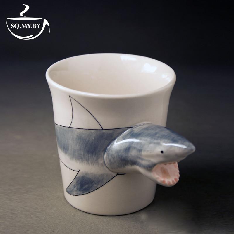 2016 New Arrival High Quality 3D Solid Animal <font><b>Cup</b></font> <font><b>Shark</b></font> Hand-painted Ceramic Coffee Tea Milk Mug Creative Birthday Gift Copo