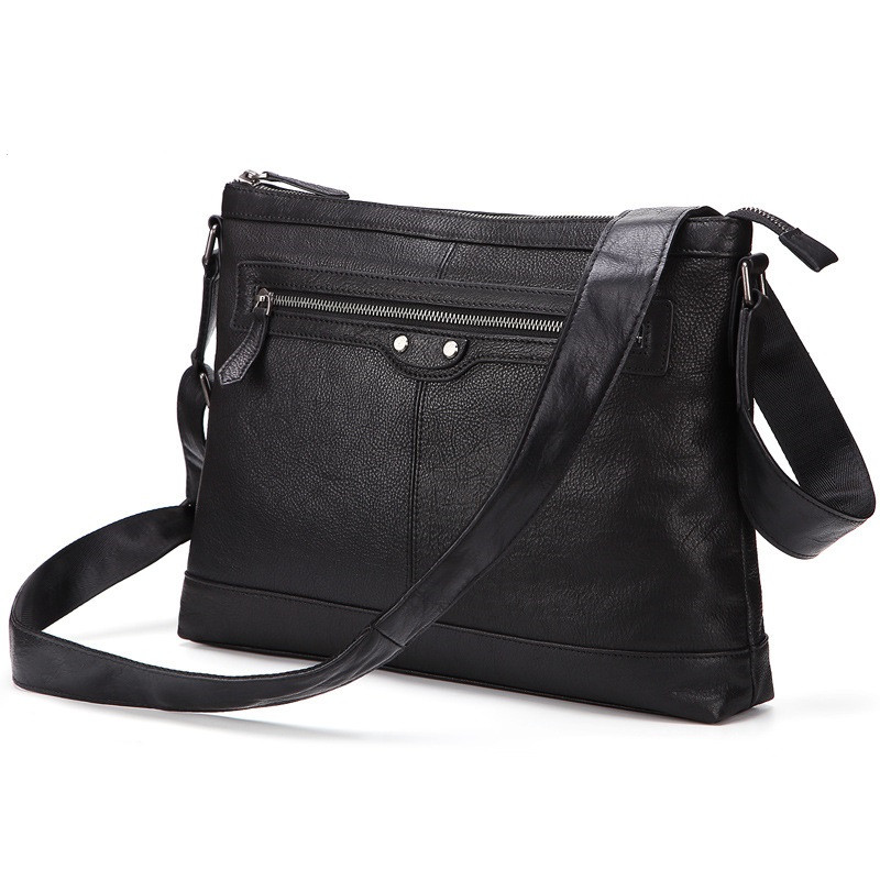 Uniego New Genuine Leather Solid Men Shoulder Bag Business Casual Male Messenger Bag Handbags High Quality Crossbody Bag HB182