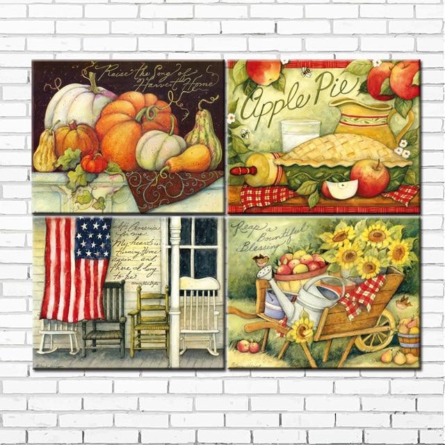 cartoon american country farm landscape canvas printings oil ...