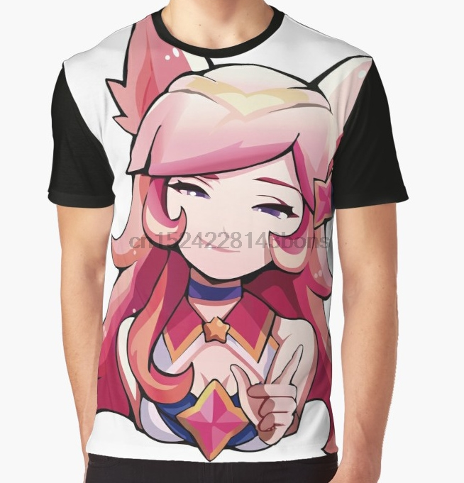 37341aaa7 All Over Print T-Shirt Men Funy tshirt Star Guardian Ahri Short Sleeve  O-Neck Graphic Tops Tee women t shirt
