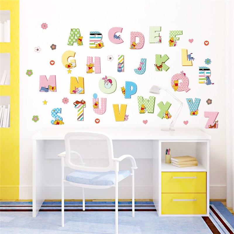 Study Room Decoration Diy: Winnie The Pooh Animals Alphabet Wall Stickers Kids Study