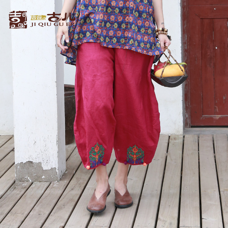 JIQIUGUER Origianl Design Ankle-Length Women   Pants   With Embroidery 100% Linen Plus Size Female   Wide     Leg     Pants   G171K005