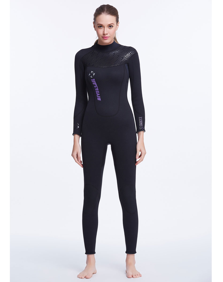 3mm Neoprene Women's Wetsuit Back Zipper Full Body Long Sleeve SCR Suit Swim Scuba Diving Surfing Snorkeling Cool Black Wet Suit neoprene 2mm men black long sleeve wetsuit jacket tops surf diving swim suit full zipper scuba snokling men bathing beach shirts