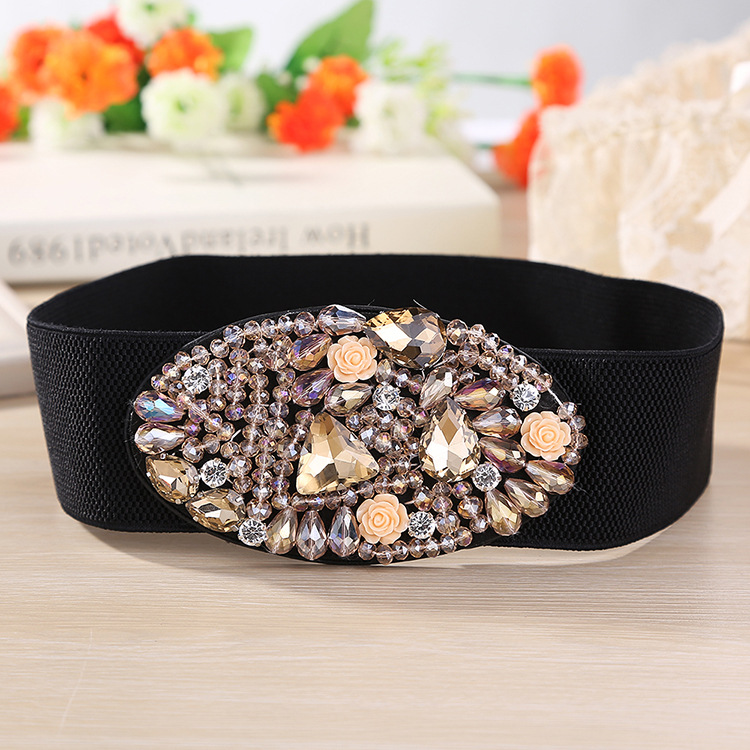 2019 New Arrival Designer Luxury Crystal Elastic Women Wide Belt With Rhinestone Elegant Belts For Women High Qualit SD237