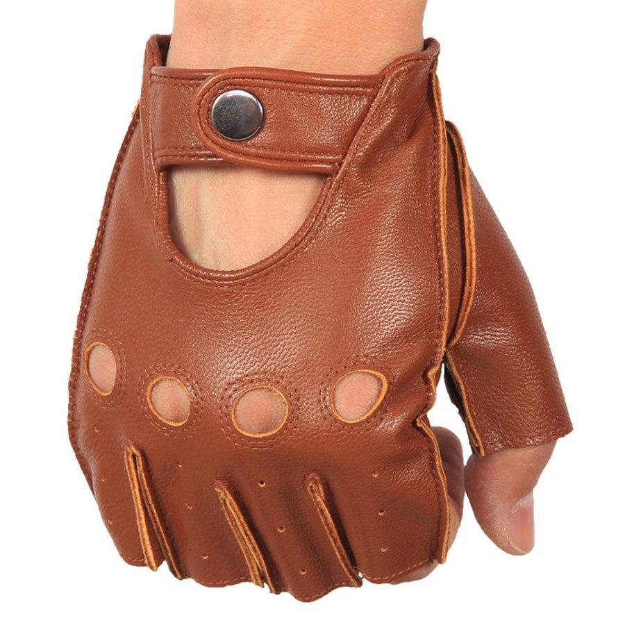 Men's Leather Gloves High Quality Non-slip Half Finger Sheepskin Fingerless Gloves 3-NAN7