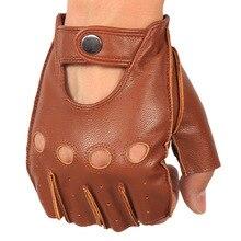 цена на Men's Leather Gloves High Quality Non-slip Half Finger Sheepskin Fingerless Gloves 3-NAN7