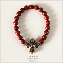 Wholesale Tibetan Buddhism Ren Sanders Wood Mala Beads Women Men 's Bracelets Beaded OM Healing Jewelry Lucky Bracelets Handmade