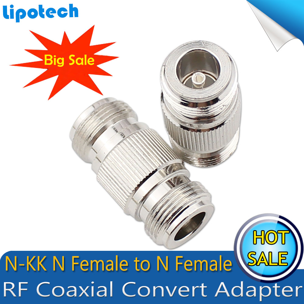 2pcs/lot  N-Type N-KK N Female To N Female Dual Pass Connector RF Coaxial Connectors Convert Adapter Lead Alloy Surface