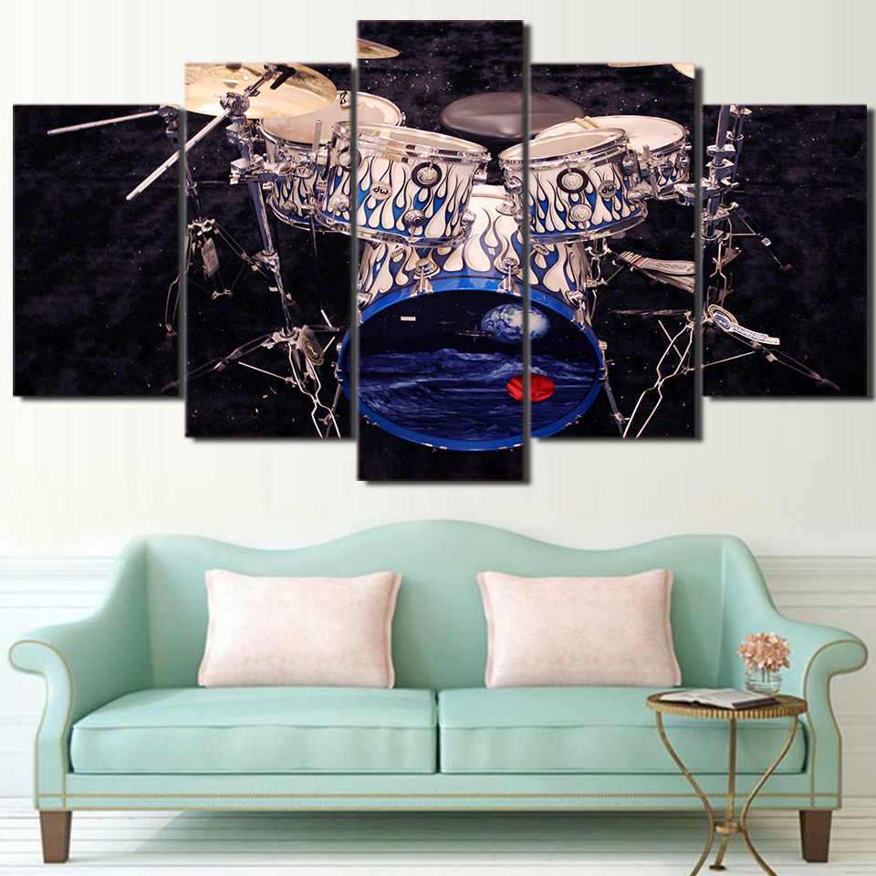 Canvas Painting Frame Picture Wall Art 5 Panel Instrument Drum Home Decoration Music For Living Room Modern Printing Type