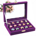 HOT-SALE  purple ring Jewelry box Jewelry display and storage acrylic cosmetic organizer stand for ring 5 rows slot