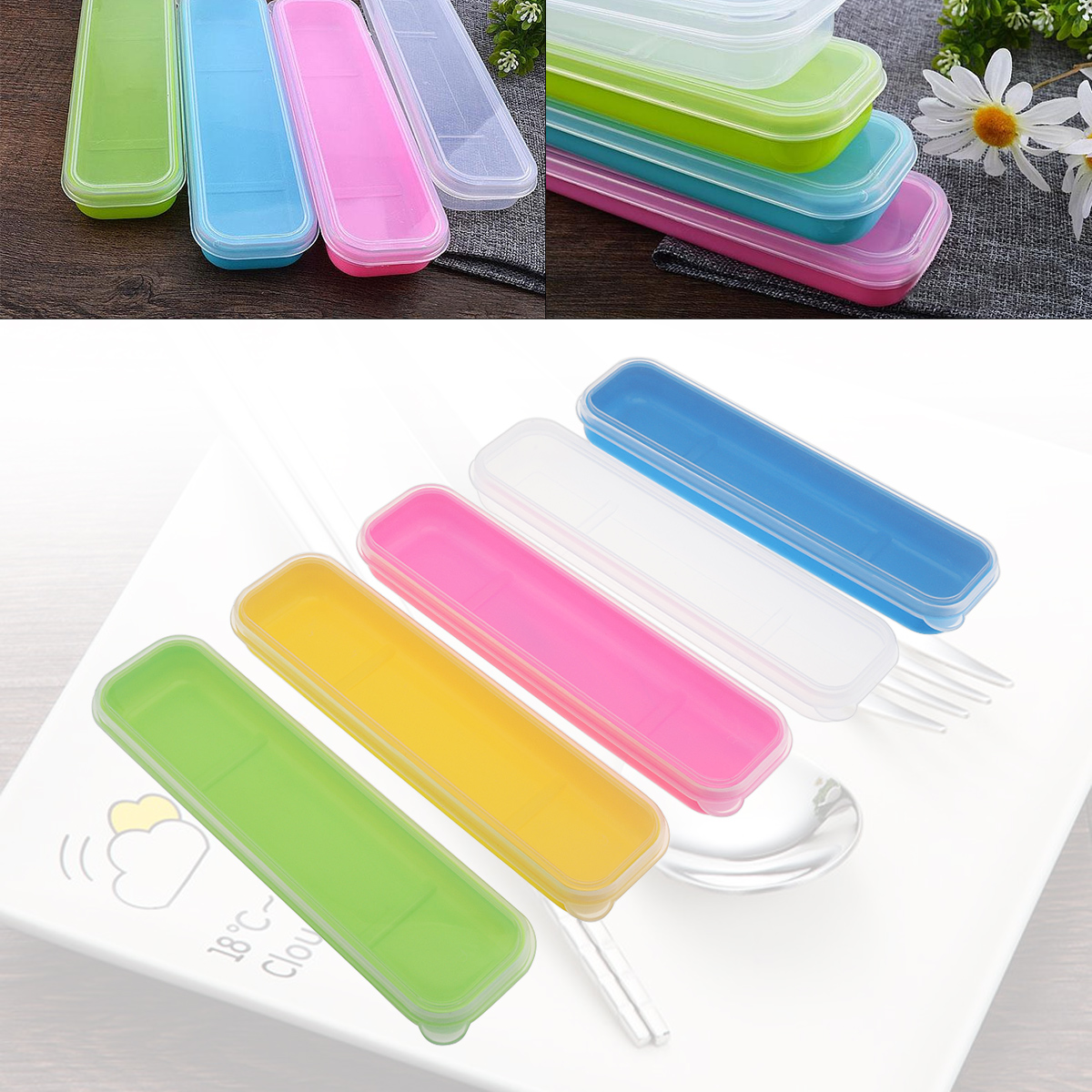 5 Colour Universal Portable PP Transparent Split type Cutlery Receptacle Tableware Storage Box in Flatware Sets from Home Garden