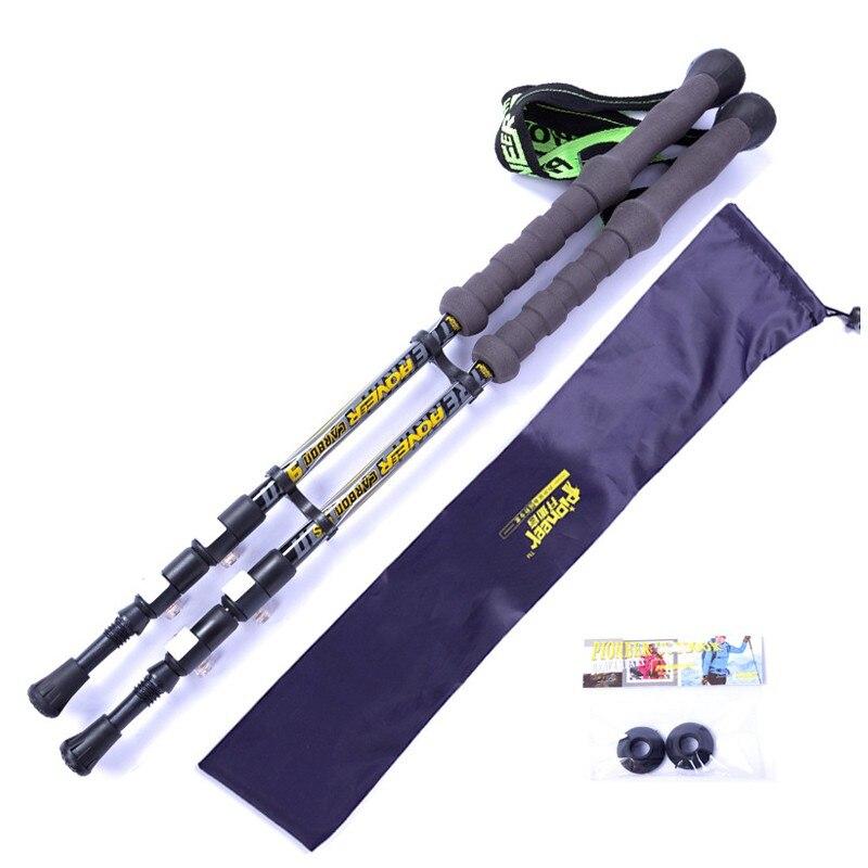 1/pcs haute qualité nordique de carbone bâton de marche pour bastones bâtons de marche canne de randonnée bâton carbone en plein air