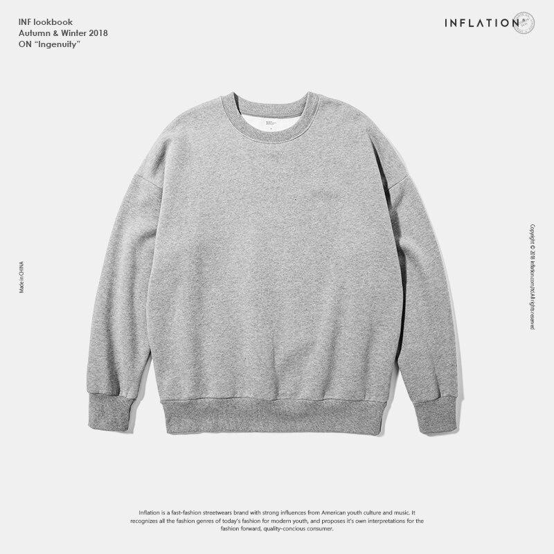 INFLATION Winter Mens Hip Hop Multi-colour Hoodies Velvet Fabrics Fleece Sweatshirts 8 Solid Color Winter Men Sweatshirts 166W17 9