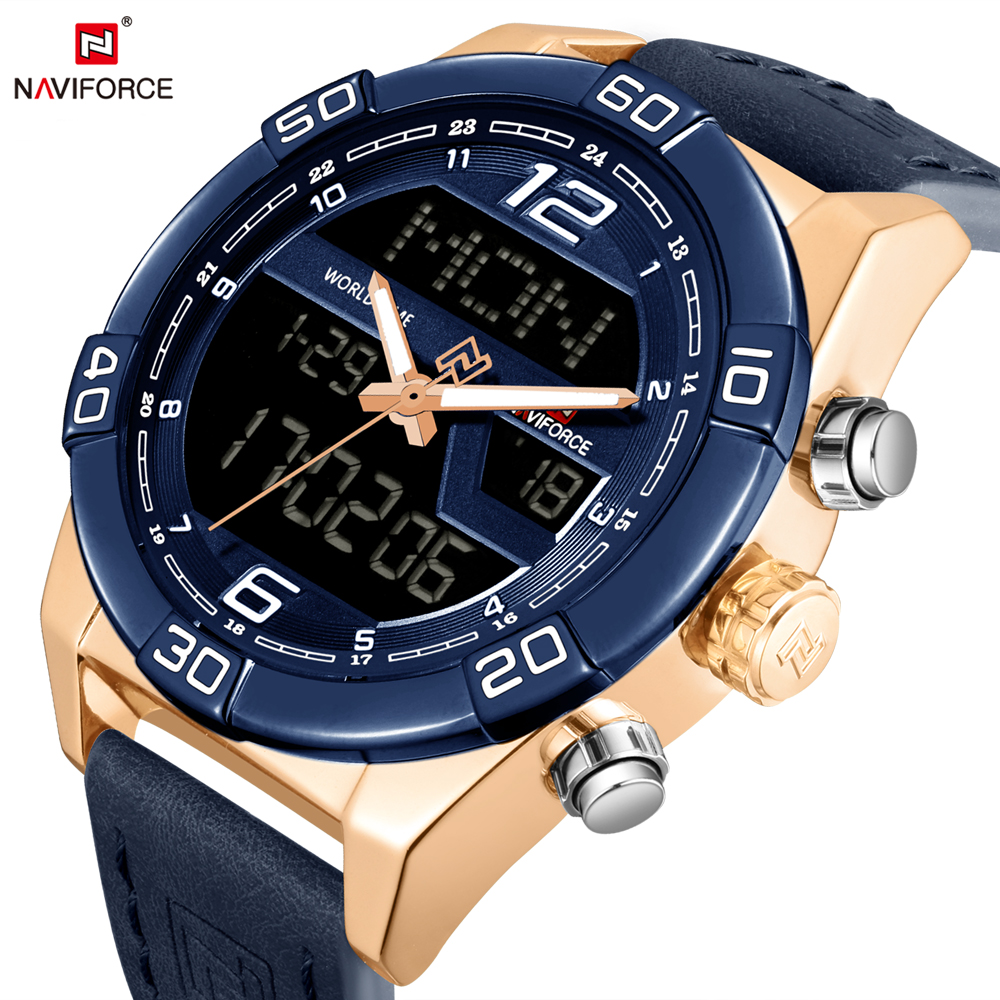 NAVIFORCE Sport Men Watches Quartz Analog Display Leather Mens Stop Watch Fashion Casual Clock Stainless Steel Case Male Relogio naviforce mens quartz watch sport 24 hour display saat fashion casual men wristwatch leather strap male clock relogio masculino