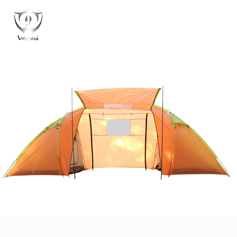 Wnnideo 5-8 Person Camping Hiking Picnic Beach Outdoor Tent New Two Bedroom Tent Portable with Big Space Orange ZS6-606 two person tent outdoor camping tent kit fiberglass pole water resistance with carry bag for hiking traveling 200x120x110cm
