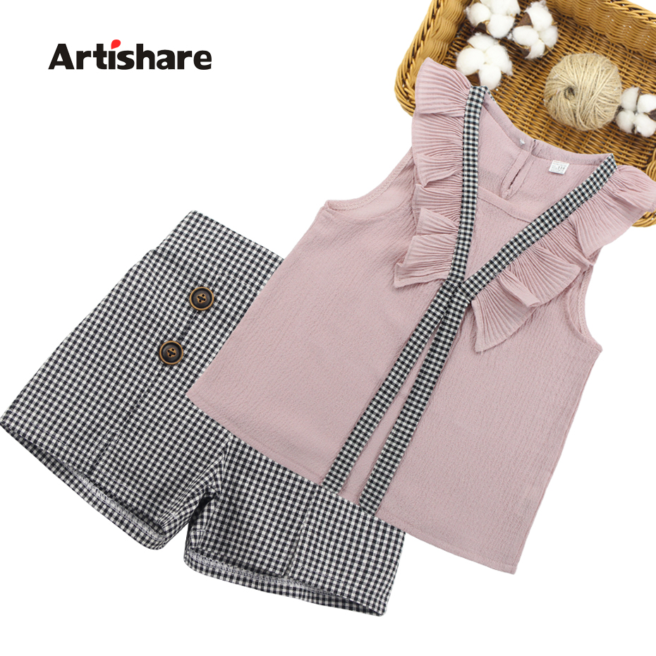 Women Clothes Set 2019 Summer time Women Garments Youngsters Vest + Plaid Shorts 2PCS Fits For Women Garments 6 7 10 11 12 14 Years Clothes Units, Low-cost Clothes...