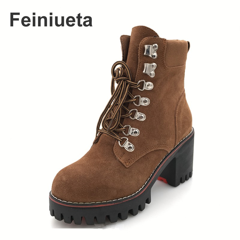 Feiniueta new autumn and winter wild boots thick with high heel Martin boots plus cashmere women's boots large size shoes 33-43 autumn and winter new leather shoes with leather boots and boots with flat boots british classic classic hot wild casual shoes