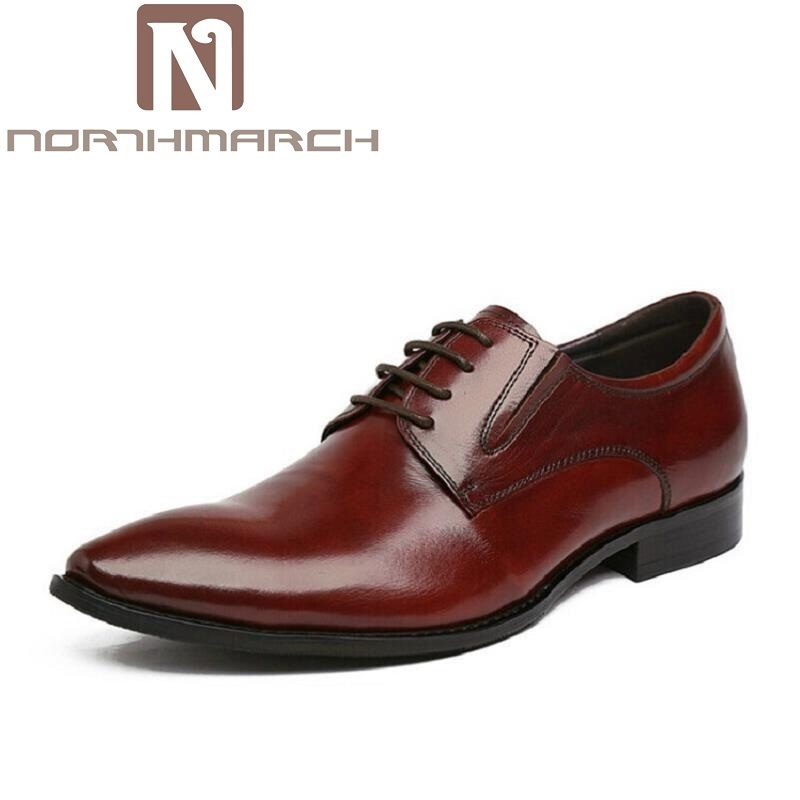 цены NORTHMARCH Brand Men Business Leather Shoes Luxury Brand Men Formal Dress Shoes Pointed Toe Derby Shoes zapatos hombre vestir