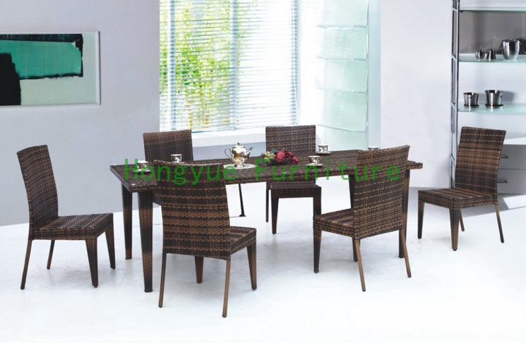 Indoor rattan dining table and chairs,dining furniture set dining table chairs in rattan materials outdoor garden dining set