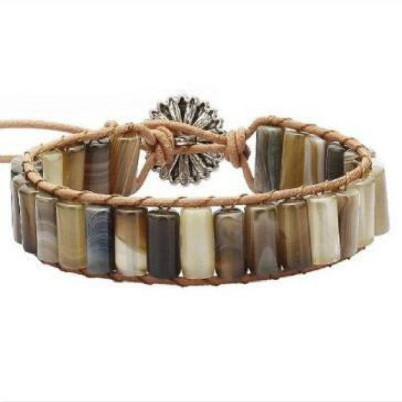 New Boho Bracelets Tube Shape Natural Stone 1 Layer Leather Wrap Bracelet Semi Precious Stones Beadwork Couple Bracelet Dropship in Wrap Bracelets from Jewelry Accessories