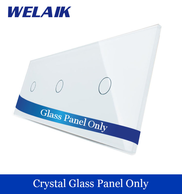WELAIK  Touch Switch DIY Parts  Glass Panel Only of Wall Light Switch White Crystal Glass Panel 1Gang+1Gang+1Gang  A39111W/B1 smart home us au wall touch switch white crystal glass panel 1 gang 1 way power light wall touch switch used for led waterproof