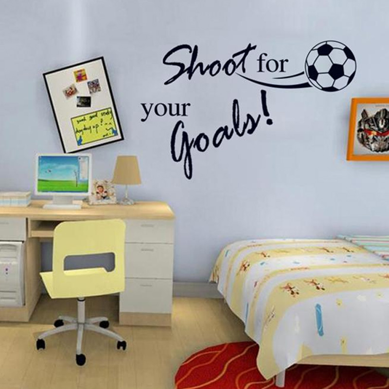 Clever Kids Room Wall Decor Ideas Inspiration: Shoot For Your Goals Inspirational Quotes Football Wall