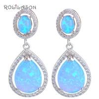 Luxury design High Quality Blue Fire Opal Srebro Wybity Dangle Kolczyki Biżuteria * Opal Fashionl Biżuteria OE280