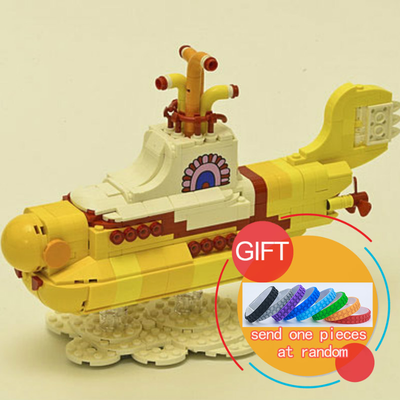 21012 553Pcs The beatles yellow submarine Building Blcoks compatible 21306 toys lepin lepin 21012 builder the beatles yellow submarine with 21306 building blocks bricks policeman toys children educational gift toys